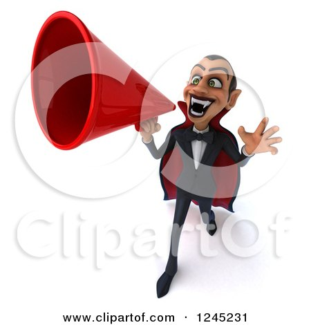 Clipart of a 3d Dracula Vampire Announcing with a Megaphone 5 - Royalty Free Illustration by Julos