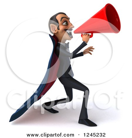 Clipart of a 3d Dracula Vampire Announcing with a Megaphone 4 - Royalty Free Illustration by Julos