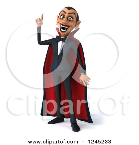 Clipart of a 3d Dracula Vampire with an Idea - Royalty Free Illustration by Julos