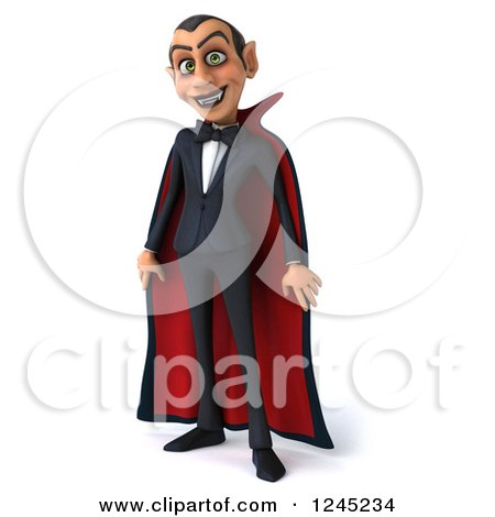 Clipart of a 3d Dracula Vampire in a Cape - Royalty Free Illustration by Julos