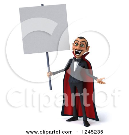 Clipart of a 3d Dracula Vampire Holding a Blank Sign - Royalty Free Illustration by Julos