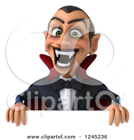 Clipart of a 3d Dracula Vampire over a Sign - Royalty Free Illustration by Julos