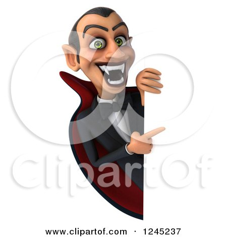 Clipart of a 3d Dracula Vampire Pointing Around a Sign - Royalty Free Illustration by Julos