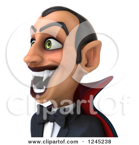 Clipart of a 3d Dracula Vampire Grinning, Facing Left - Royalty Free Illustration by Julos