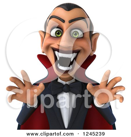 Clipart of a 3d Dracula Vampire in a Scary Pose - Royalty Free Illustration by Julos