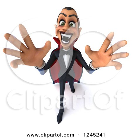 Clipart of a 3d Dracula Vampire Reaching out - Royalty Free Illustration by Julos