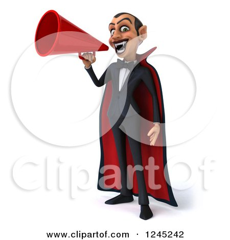 Clipart of a 3d Dracula Vampire Announcing with a Megaphone - Royalty Free Illustration by Julos