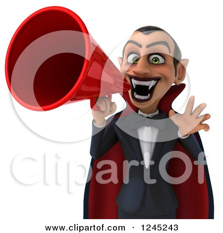 Clipart of a 3d Dracula Vampire Announcing with a Megaphone 2 - Royalty Free Illustration by Julos