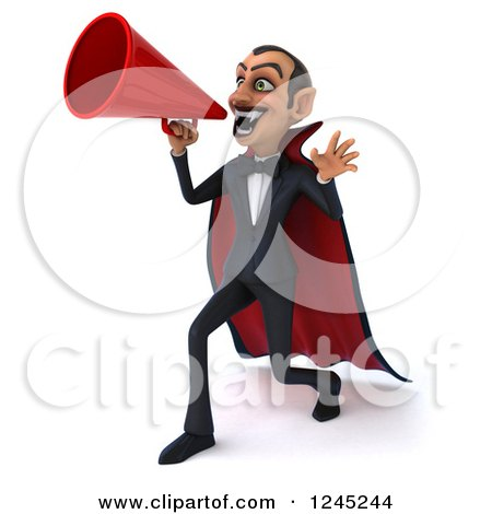 Clipart of a 3d Dracula Vampire Announcing with a Megaphone 3 - Royalty Free Illustration by Julos