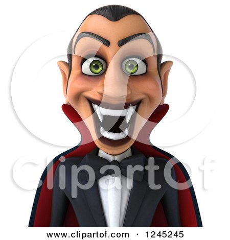 Clipart of a 3d Dracula Vampire Grinning - Royalty Free Illustration by Julos