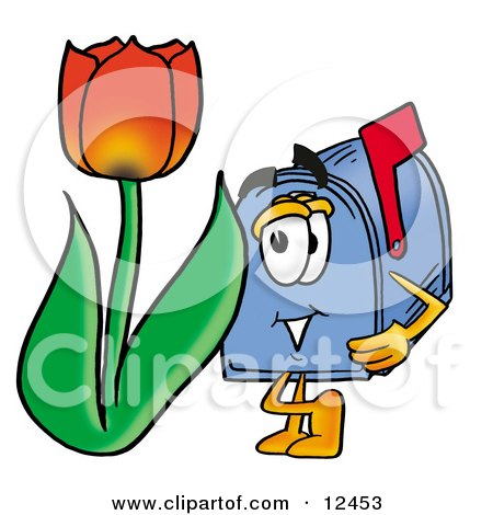 Blue Postal Mailbox Cartoon Character With a Red Tulip Flower in the Spring Posters, Art Prints