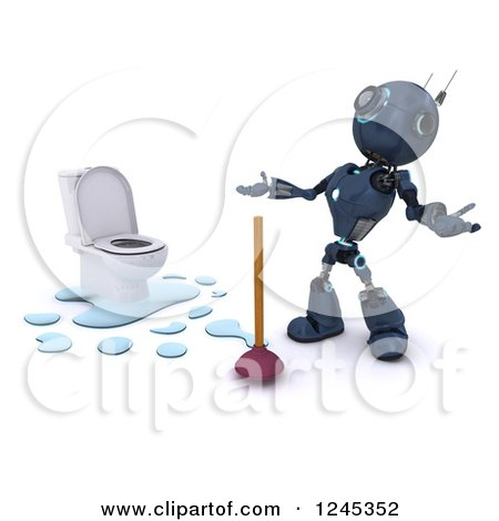 Clipart of a 3d Frustrated Blue Android Robot Plumber with a Toilet and Plunger - Royalty Free Illustration by KJ Pargeter