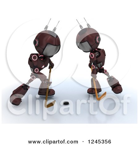 Clipart of 3d Red Android Robots Playing Hockey 2 - Royalty Free Illustration by KJ Pargeter