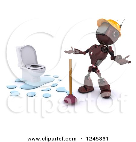Clipart of a 3d Frustrated Red Android Robot Plumber with a Toilet and Plunger - Royalty Free Illustration by KJ Pargeter