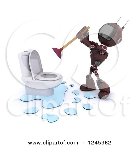 Clipart of a 3d Red Android Robot Plumber Plunging a Toilet - Royalty Free Illustration by KJ Pargeter
