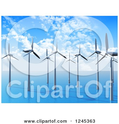 Clipart of a 3d Wind Farm in the Ocean - Royalty Free Illustration by KJ Pargeter