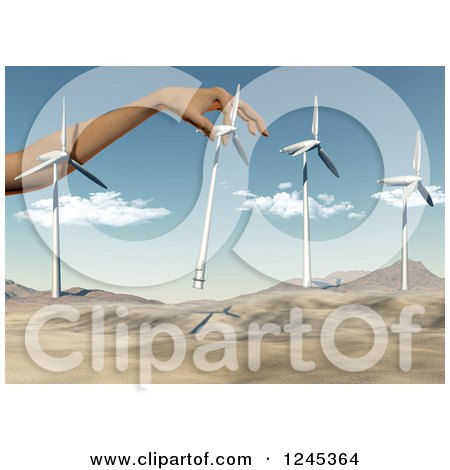Clipart of a 3d Giant Hand Putting Wind Turbines in a Desert Landscape - Royalty Free Illustration by KJ Pargeter