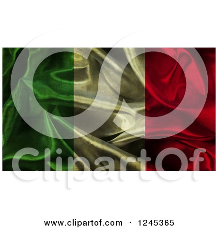 Clipart of a 3d Dark Crumpled Italian Flag - Royalty Free Illustration by KJ Pargeter