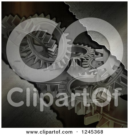 Clipart of a 3d Metal Background with Gears - Royalty Free Illustration by KJ Pargeter