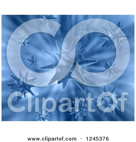 Clipart of a Background of 3d Blue Viruses - Royalty Free Illustration by KJ Pargeter