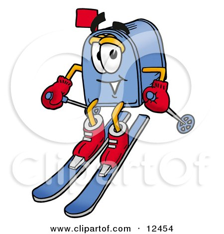 Blue Postal Mailbox Cartoon Character Skiing Downhill Posters, Art Prints