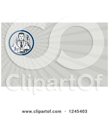 Clipart of a Gray Ray Scientist Background or Business Card Design - Royalty Free Illustration by patrimonio