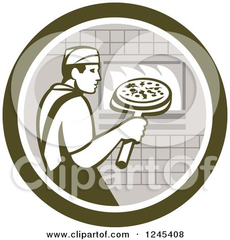 Clipart of a Retro Male Chef Inserting a Pizza and Peel in a Brick Oven - Royalty Free Vector Illustration by patrimonio