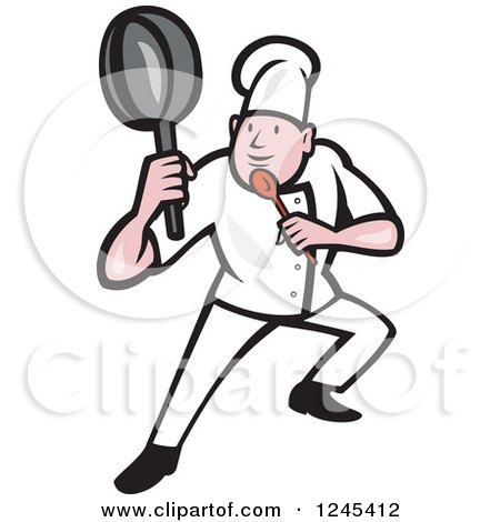 Cartoon Male Chef in a Kung Fu Fighting Stance Posters, Art Prints