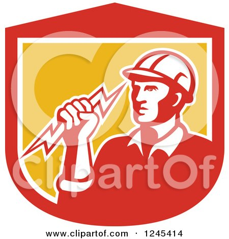 Clipart of a Retro Male Electrician Holding a Bolt in a Shield - Royalty Free Vector Illustration by patrimonio