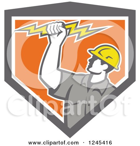 Clipart of a Retro Male Electrician Holding up a Bolt in a Gray and Orang Shield - Royalty Free Vector Illustration by patrimonio