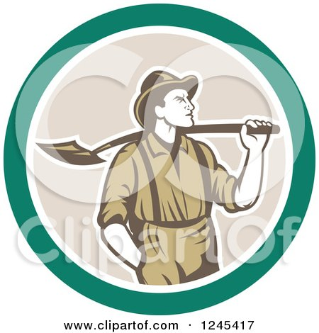 Clipart of a Retro Male Miner with a Shovel over His Shoulder in a Circle - Royalty Free Vector Illustration by patrimonio