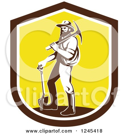 Clipart of a Retro Male Miner Carrying a Pickaxe and Standing with a Shovel in a Shield - Royalty Free Vector Illustration by patrimonio