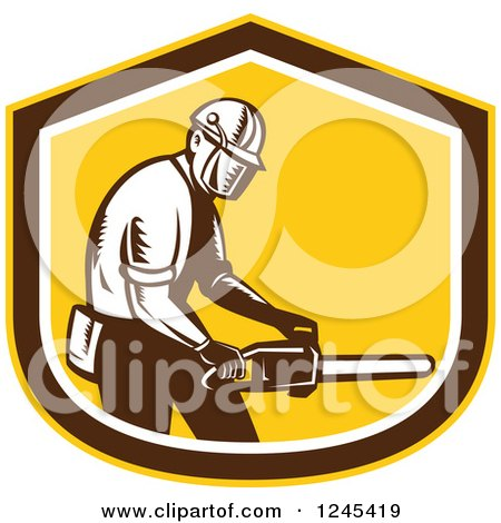 Clipart of a Retro Woodcut Male Arborist Holding a Chainsaw in a Shield - Royalty Free Vector Illustration by patrimonio