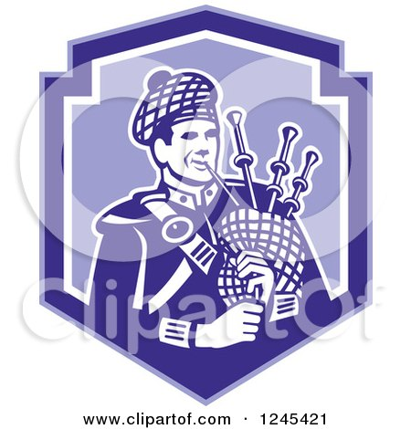 Clipart of a Retro Male Scotsman Bagpiper in a Blue Shield - Royalty Free Vector Illustration by patrimonio