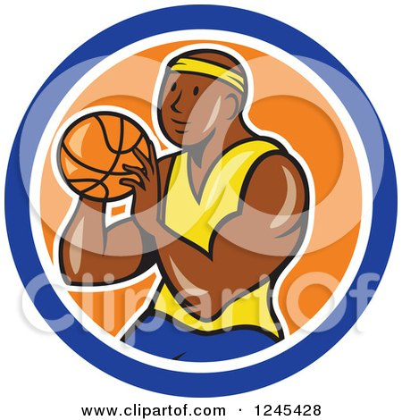 Clipart of a Cartoon Black Male Basketball Player Shooting in a Circle - Royalty Free Vector Illustration by patrimonio