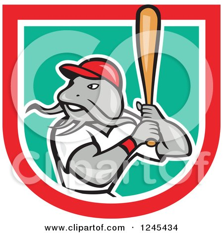Clipart of a Baseball Catfish Batting in a Shield - Royalty Free Vector Illustration by patrimonio