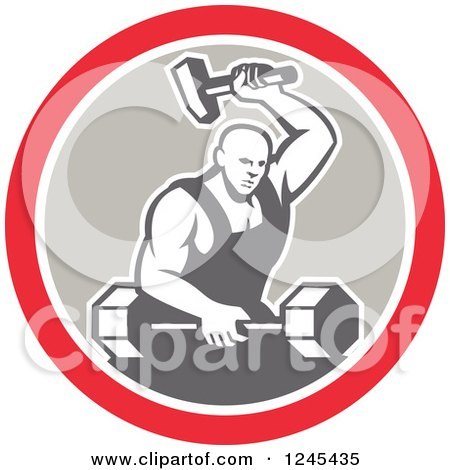 Clipart of a Retro Male Blacksmith with a Hammer and Dumbbell in a Circle - Royalty Free Vector Illustration by patrimonio