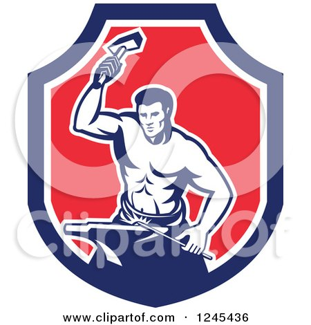 Clipart of a Retro Male Blacksmith Hammering in a Shield - Royalty Free Vector Illustration by patrimonio
