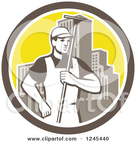 Clipart of a Retro Male Window Washer Holding a Squeegee in a City Circle - Royalty Free Vector Illustration by patrimonio