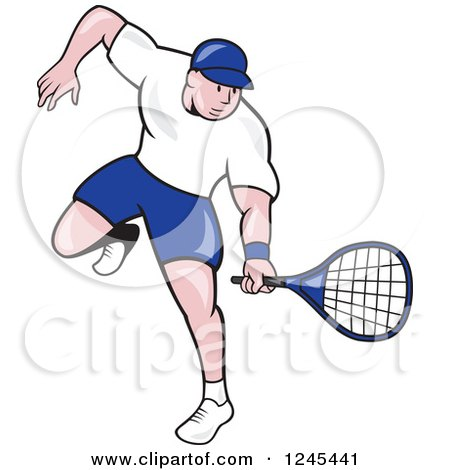 Clipart of a Cartoon Male Tennis Player Swinging - Royalty Free Vector Illustration by patrimonio