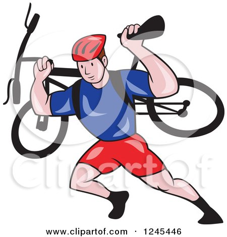 Clipart of a Cartoon Male Cyclist Repair Man Holding up a Bike - Royalty Free Vector Illustration by patrimonio