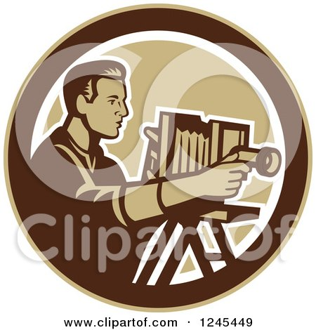 Clipart of a Retro Male Photographer with a Bellows Camera in a Circle - Royalty Free Vector Illustration by patrimonio
