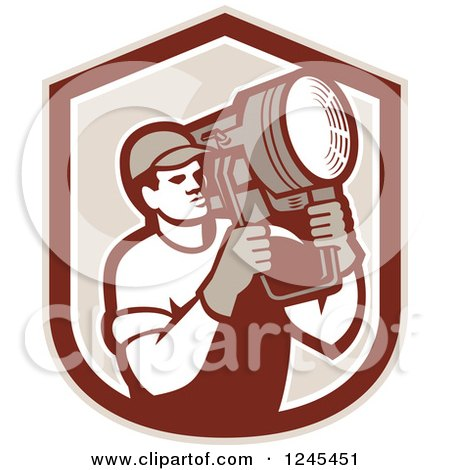 Clipart of a Retro Male Lighting Technician Holding a Spotlight in a Shield - Royalty Free Vector Illustration by patrimonio