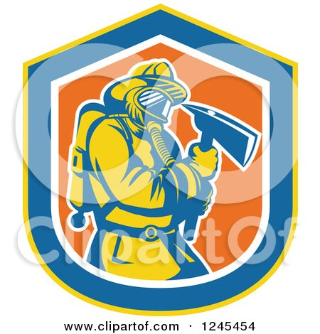 Clipart of a Retro Male Fireman with an Axe in a Shield - Royalty Free Vector Illustration by patrimonio