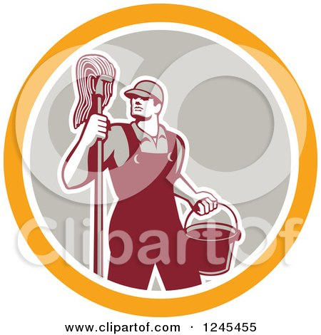 Clipart of a Retro Male Janitor with a Mop and Bucket in a Circle - Royalty Free Vector Illustration by patrimonio