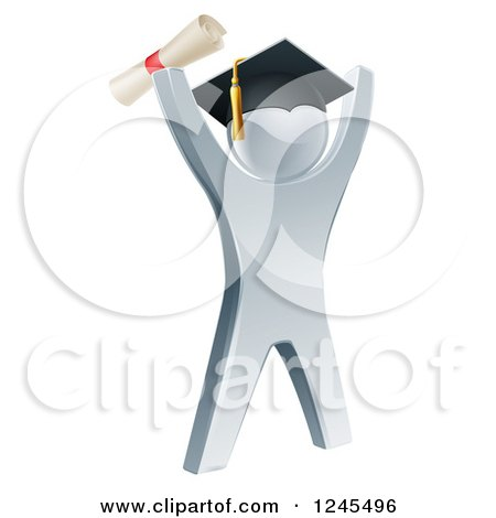 Clipart of a 3d Silver Graduate Cheering - Royalty Free Vector Illustration by AtStockIllustration