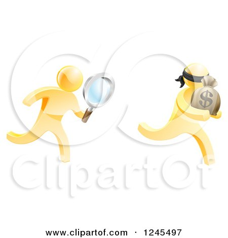 Clipart of a 3d Gold Detective Chasing a Thief with a Magnifying Glass - Royalty Free Vector Illustration by AtStockIllustration