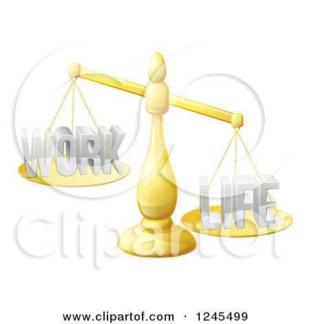 Clipart of 3d Imbalanced Golden Scales with Work and Life Equally - Royalty Free Vector Illustration by AtStockIllustration