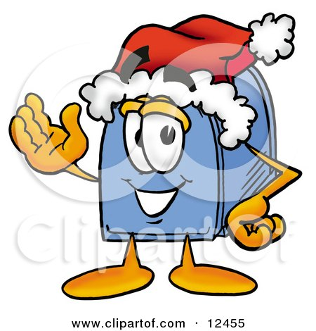 Blue Postal Mailbox Cartoon Character Wearing a Santa Hat and Waving Posters, Art Prints