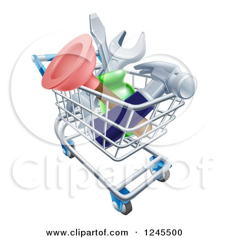 Clipart of a 3d Shopping Cart Full of Tools - Royalty Free Vector Illustration by AtStockIllustration
